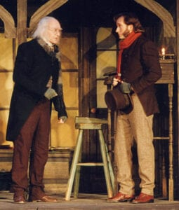 As Bob Cratchit with Wil Love as Scrooge